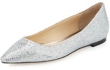 Jimmy ChooJimmy Choo Romy Glitter-Fabric Ballerina Flat