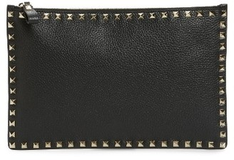 Valentino Large Rockstud Flat Leather Zip Pouch - Black $675 thestylecure.com
