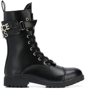 Versace front zip boots