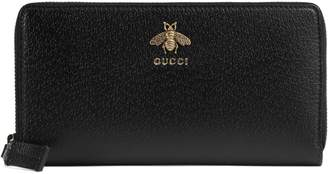 Gucci Animalier leather zip around wallet
