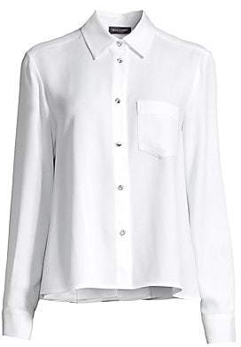 Piazza Sempione Women's Crystal Button Point Collar Blouse