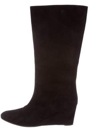 Christian Dior Suede Mid-Calf Wedge Boots Black Suede Mid-Calf Wedge Boots