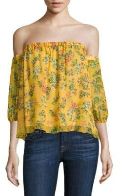 Ella Moss Poetic Garden Silk Off-the-Shoulder Top