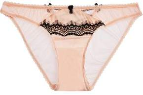 Mimi Holliday Bisou Bisou Zoo Low-Rise Silk-Blend Tulle And Lace Briefs