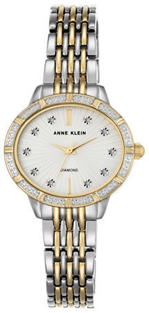 Anne Klein Anne Klein Oval Diamond and Swarovski Crystal Bracelet Watch