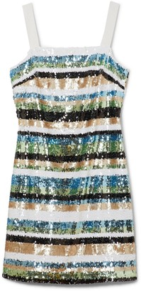Vince Camuto Striped Sequin Tank Dress