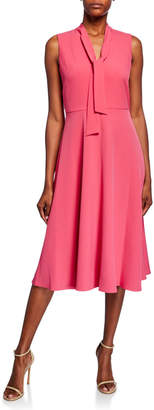 Maggy London Neck-Tie Fit-&-Flare Midi Dress