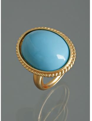 Kenneth Jay Lane turquoise oval enamel large ring