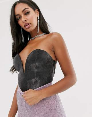 Rare London plunge front body with lace up back detail in metallic gunmetal