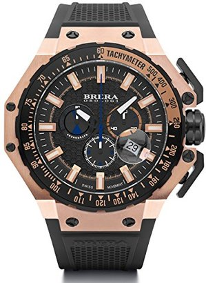 Brera Orologi brgtc5408 Gran Turismoスイス製Ronda 5030.dダイヤルローズゴールドトーンブラックゴムストラップ時計
