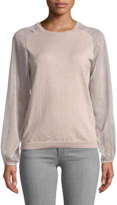 Anna Cai Chiffon-Sleeve Pullover Sweater