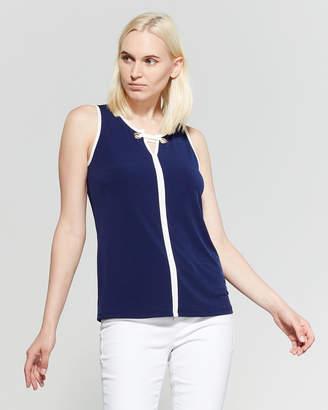 Cable & Gauge Split Neck Sleeveless Top