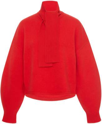 Tibi Tie-Neck Wool-Blend Sweater