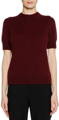 Marni Short-Sleeve Bicolor Cashmere Sweater with Leather Zip Detail