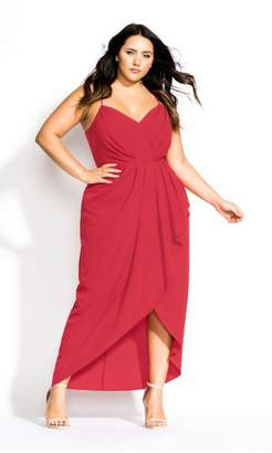 City Chic Citychic Tango Ruffle Maxi Dress - raspberry