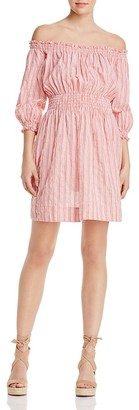 Rebecca Taylor Off-the-Shoulder Stripe Dress - 100% Exclusive $350 thestylecure.com