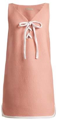Emilia Wickstead Savana Bow Embellished Cloque Mini Dress - Womens - Pink