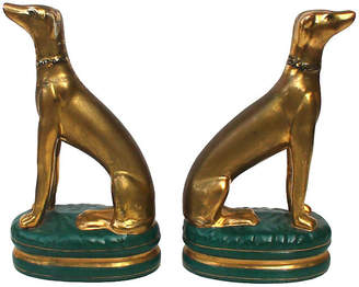 One Kings Lane Vintage Gilded Porcelain Whippet Statues - Set of 2 - Laurie Frank
