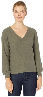 Lucky Brand Ribbed V-Neck Cloud Jersey Top