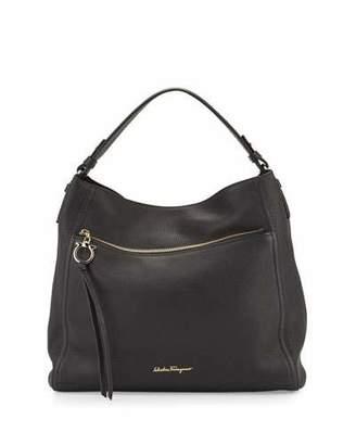 Salvatore Ferragamo Ally Leather Hobo Bag, Black (Nero) $1,350 thestylecure.com