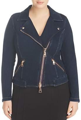 Marina Rinaldi x Ashley Graham Cartoon Denim Moto Jacket