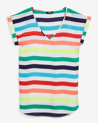 Express Love Unites Rainbow Striped V-Neck Gramercy Tee