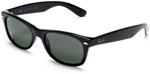 Ray-Ban RB2132 New Wayfarer Sunglasses 52 mm, Non-Polarized, Black/G-15-XLT