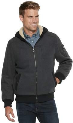 Urban Republic Men's Wool-Blend Sherpa-Lined Hooded Bomber Jacket