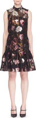 Erdem Mock-Neck Sleeveless A-Line Metallic-Floral Dress