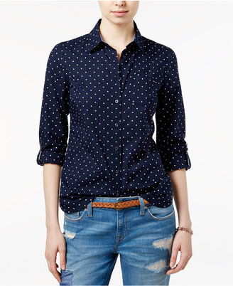 Tommy Hilfiger Polka-Dot Roll-Tab Shirt, Only at Macy's $49.50 thestylecure.com