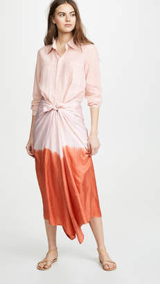 Tome Patchwork Wrap Midi Dress