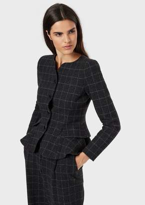 Emporio Armani Flannel Jacket With Contoured Neckline And Peplum