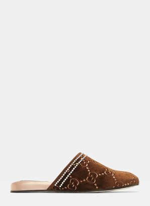 Gucci Velvet GG Crystal Sandals in Brown