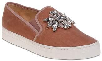 Badgley Mischka Barre Embellished Velvet Slip-On Sneakers