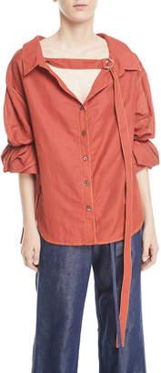 Rejina Pyo Amber V-Neck Button-Front Linen Shirt