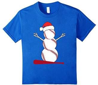 Snowman Plays Baseball on Christmas Funny Tshirt Gift