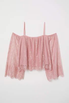 H&M Lace Off-the-shoulder Dress - Pink