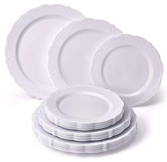PARTY DISPOSABLE 30 PC DINNERWARE SET | 10 Dinner Plates | 10 Salad Plates | 10 Dessert Plates | Heavy Duty Plastic Dishes | Elegant Fine China Look | Upscale Wedding Dining (Vintage Collection–White)
