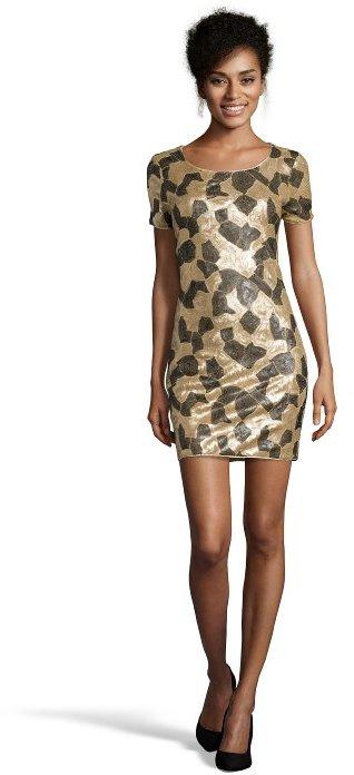 Rachel Zoe gold and black 'Jannis' sequined detail short sleeve dress
