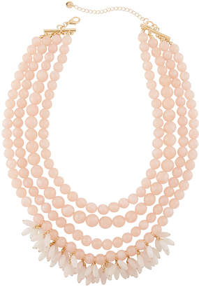 Lydell NYC Multi-Row Beaded Statement Necklace w/ Dangles, Pink