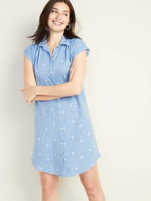 Old Navy Multi-Stripe Linen-Blend Shirt Dress for Women
