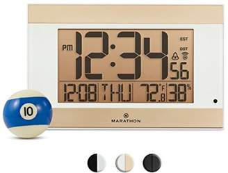 Marathon CL030052WH Atomic Digital Wall Clock With Auto-Night Light