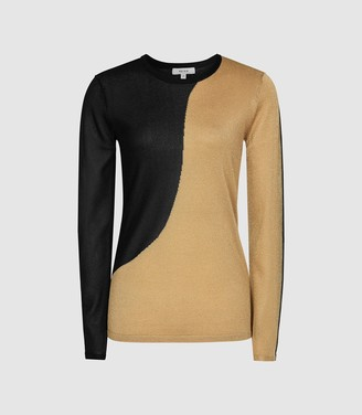 Reiss Adele - Colour Block Crew Neck Jumper in Black/gold
