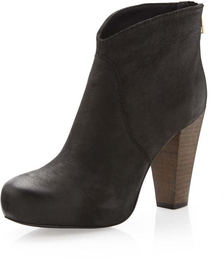Steve Madden Steven by Regainn Wooden-Heel Ankle Boot, Black
