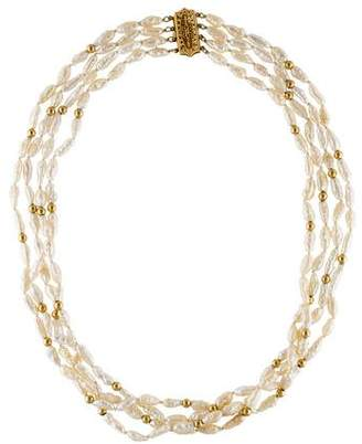 14K Rice Pearl Torsade Necklace