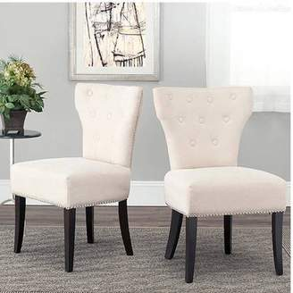 Safavieh Jappic Tufted Buttoned Side Chairs with Nailheads, Set of 2, Beige