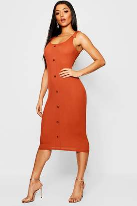 boohoo Tie Shoulder Rib Mock Horn Button Midi Dress