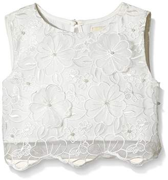 Yumi Girl's 3D Flower Organza Floral Blouse,(Manufacturer Size:5-)
