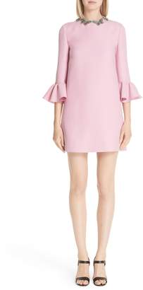 Valentino Embellished Butterfly Neck Wool & Silk Shift Dress