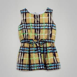 Burberry Scribble Check Print Cotton Drawcord Dress